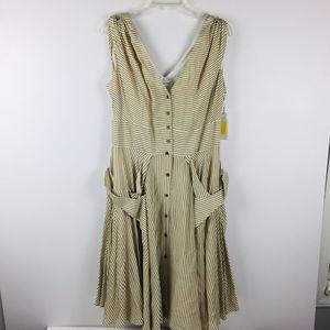 Calvin Klein Striped Lined Summer Midi Dress Sz 12